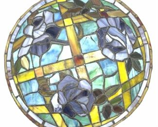 Stained Art Glass Floral Centerpiece Ornament