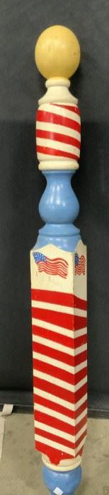 Antique Handcrafted Wooden Barber Pole, Folk Art