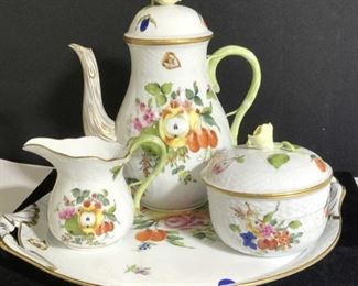 HEREND HUNGARY Fruits & Flowers Tea/ Coffee Set 4
