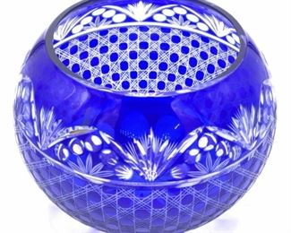 Cobalt Blue Bohemian Cut Crystal Rose Bowl