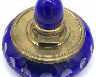 Antique English Cobalt Blue Cut Crystal Inkwell