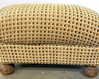 Custom Upholstered Ottoman W Wooden Feet