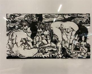 PETER LEVENTHAL Signed Woodblock Artwork