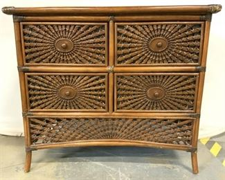 Vintage Bamboo Dresser Chest Of Drawers
