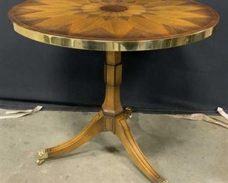 BAKER Vintage Wood Brass Pedestal Side Table