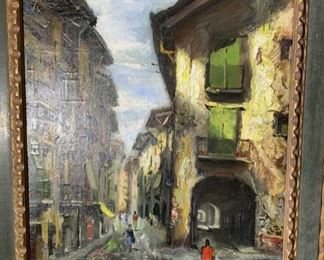 Signed Oil Painting on Canvas Street Scene