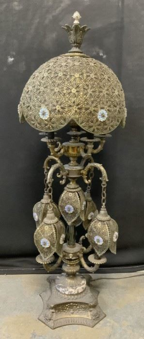 Vintage Brass Italian Grand intricate Lamp, Italy
