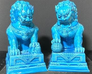 Pair Asian Guardian Fu Dog Porcelain Statues