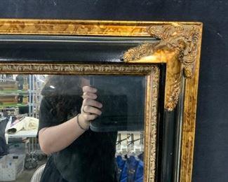 Black and Gilt Wood Mirror