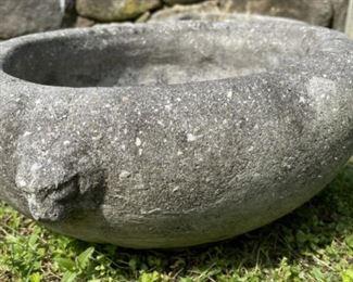 Vintage Pair outdoor stone lion head planters