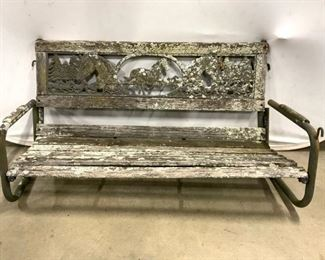 Vintage Wood & Metal Porch Swing Horse Motif