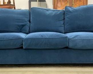 Custom Made upholstered Blue Sofa