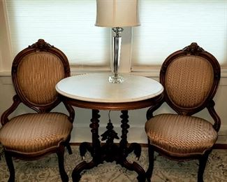 Pair Victorian cameo back chairs, antique marble top carved pedestal table & crystal base lamp