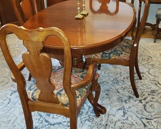 """Great condition 108"""" oval table extends to 152"""" with 24"""" leaf, four side chairs & two host's chairs"""