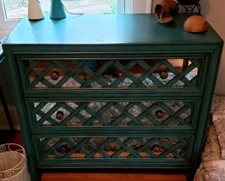 Three mirror front drawer chest
