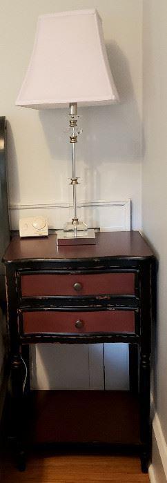 Two drawer shelf night stand & lamp