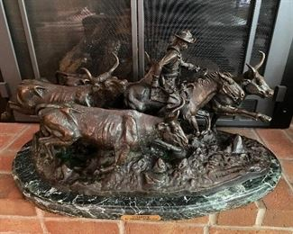 """Frederic Remington """"Stampede"""" bronze sculpture with marble base"""