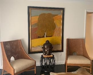 Pair of beautiful McGuire Chairs Painting is not for sale