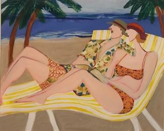 """Cramer, Patti, """"Lounge Lizards, Or How I Spent My Winter Vacation"""", oil on canvas, 40 x 50 in. $5900. Sale $4500."""