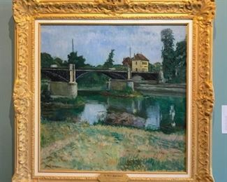"""Ostrowsky, Samuel, """"Bridge at Argenteuil"""" c. 1925 oil on canvas, 30 x 30 in.  $12,000.  Sale Priced $8900."""