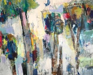"Zarin, Helen, ""Summer"" 51 x 51 in. Acrylic on canvas, $6000.  Sale Price $4900."