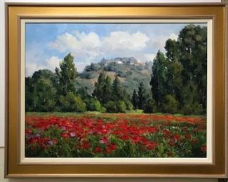 Poppies in a European Landscape, oil on canvas, 30 x 40 in. $2900.  Sale Price $1500.