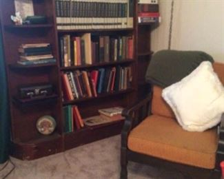 Solid wood curved end bookcase; vintage side chair