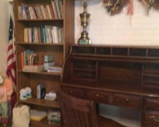 Bookcase, roll top desk & wood chair