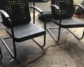 Pair of vintage metal outside chairs