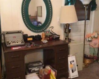 wood desk; Royal manual typewriter