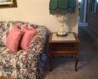 end table with slate insert, vintage lamp