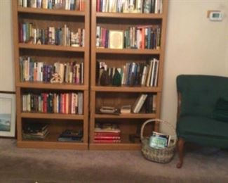 Sauder Woodworking bookcases (2), cast iron pieces, armless side chair