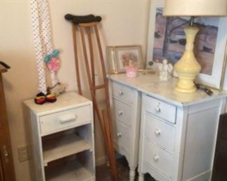 Pair vintage nightstands, storage cabinet, vintage crutches