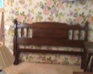 Queen headboard, frame w/ mattress set, linens