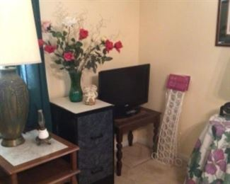 2 drawer filing cabinet, side tables, flat screen TV