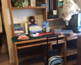 Computer desk, books, miscellaneous