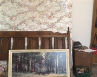 King size bed with mattress set, vintage wall picture, nightstand