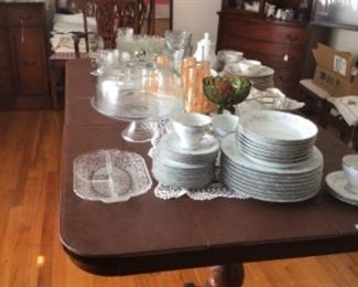 """8 place setting of USS """"Springtime"""" China; misc glassware, luster ware glasses & partial set of Bohemian China from Czechoslovakia """"Pink Orchid"""""""