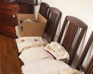 Vintage & newer linen, table clothes, stoneware set