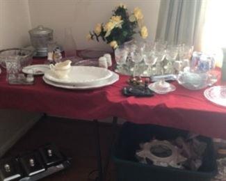 More crystal, iris & herringbone, platters
