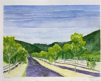 "Texas Artist, Libbie Masterson Original Watercolor ""South of France"" 11 1/4""x15"""