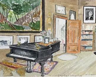 "Libbie Masterson Original Watercolor ""the Living Room of Edvard Grieg of Troldhaugen Norway"" 7 1/2""x11"""