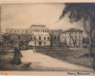 """Texas Artist, Mary Bonner - Etching of Julia Ideson Building in Downtown Houston 1927 7 1/4""""x10 1/4"""""""