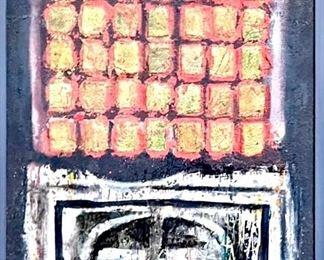 """David Adickes Original Artwork Oil & Sand on Plywood '56 27""""x17 1/2"""""""