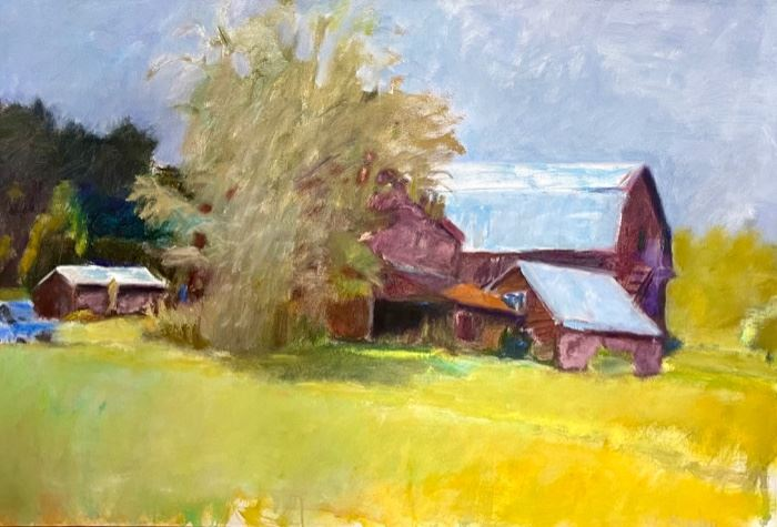 """Wolf Kahn Original Oil  Highly Desirable Piece from his """"Barn Series""""  30""""x44"""""""