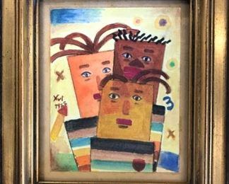 """Xul Solar Original Watercolor """"Tres Compadres"""" 1922 5""""x3 3/4"""""""