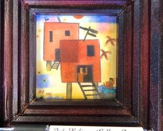 """Xul Solar Original Watercolor """"Dos Casas"""" 1922 3 3/8""""x3"""""""