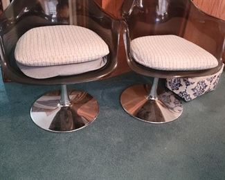 Vintage Smoked Lucite Bucket Chairs