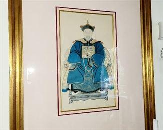 "Chinese Emperor Framed Mixed Media  art 22""x13"""