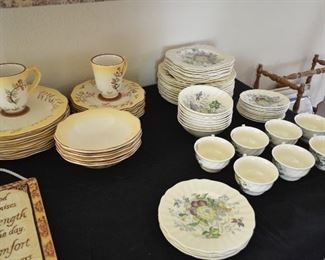 Floral Royal Dolton dishes on right, 2 other sets of china
